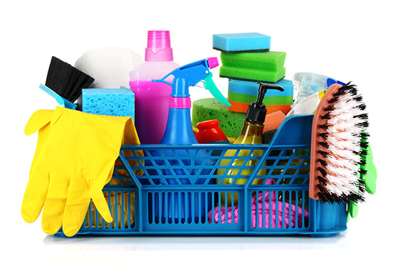 Basket full with cleaning accessories