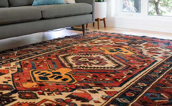 Persian rug with a sofa